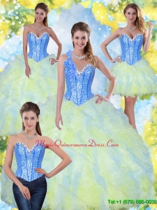 Puffy Sweetheart Beading and Ruffles 2015 Quinceanera Gowns in Multi Color
