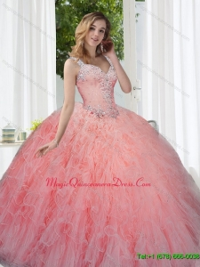 Puffy Watermelon Sweet 15 Quinceanera Gowns with Beading and Ruffles