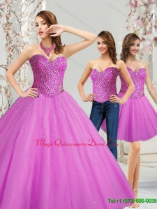Romantic 2015 Tulle Sweetheart Beading Quinceanera Dresses in Fuchsia