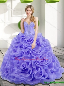 Romantic Beading and Rolling Flowers 2015 Sweet 15 Quinceanera Dresses in Lavender