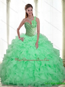 Romantic Beading and Ruffles Apple Green 2015 Quinceanera Dresses with Sweetheart
