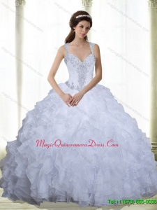 Romantic Beading and Ruffles Sweetheart 2015 Quinceanera Dresses in White