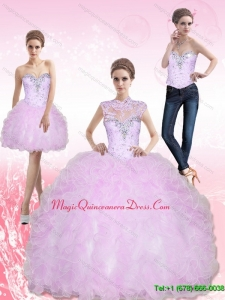 Romantic Sweetheart Beading and Ruffles Sweet 15 Quinceanera Dresses for 2015