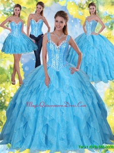 2015 Romantic Beading and Ruffles Baby Blue Sweet Sixteen Quinceanera Dresses with Sweetheart