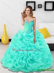 Romantic Beading and Rolling Flowers Sweetheart Light Blue Sweet 15 Quinceanera Dresses for 2015