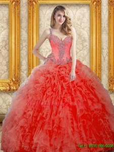Romantic Beading and Ruffles Coral Red Quinceanera Dress