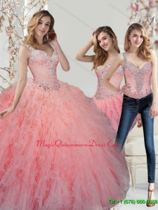 Romantic Beading and Ruffles Watermelon Quinceanera Dresses