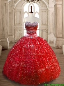 Classical Ball Gown Red Sweet 16 Dress with Beading and Sequins