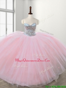 Discount Really Puffy Baby Pink Sweet 16 Dress with Beading