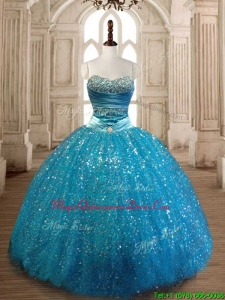 Elegant Beaded and Sequined Quinceanera Dress in Teal