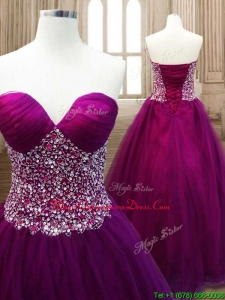 Fashionable A Line Burgundy Sweet 16 Dress with Beading for Spring