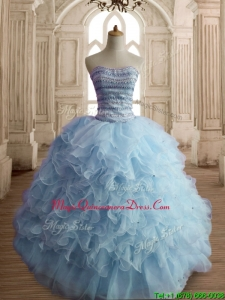 Lovely Light Blue Big Puffy Quinceanera Dress with Beading and Ruffles