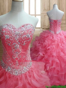 New Style Beaded and Ruffled Quinceanera Dress in Watermelon