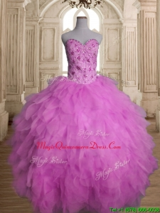 Best Lilac Tulle Sweet 16 Dress with Beading and Ruffles