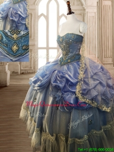 Classical Beaded and Pick Ups Big Puffy Quinceanera Dress in Blue