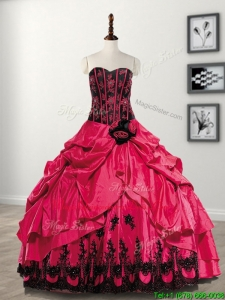 Elegant Hand Made Flowers and Pick Ups Taffeta Sweet 16 Dress in Coral Red
