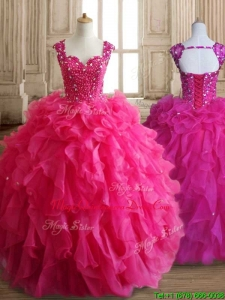 Exclusive Straps Hot Pink Quinceanera Dress with Beading and Ruffles