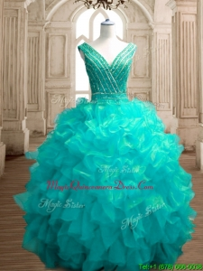 Fashionable Deep V Neckline Sweet 16 Dress with Beading and Ruffles