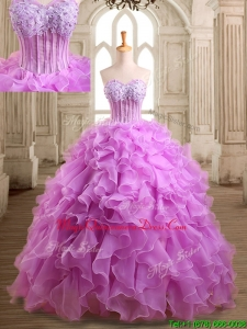 Lovely Applique and Beaded Organza Quinceanera Dress in Lilac