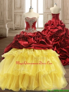 Luxurious Beaded and Ruffled Layers Quinceanera Dress with Brush Train