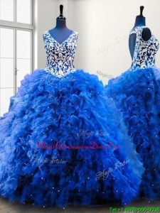 Popular V Neck Beading and Ruffles Sweet 16 Dress in Royal Blue