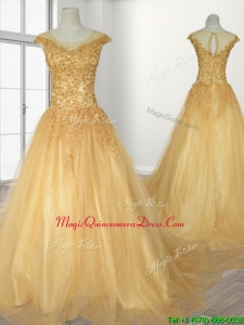 See Through Scoop A Line Beading Quinceanera Gown with Brush Train