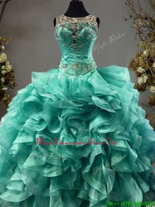 See Through Scoop Turquoise Sweet 16 Dress with Beading and Ruffles