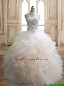 Best Scoop Beading and Ruffles Sweet 16 Dress in Champagne