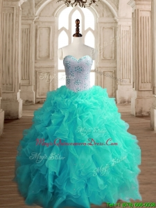 Classical Turquoise Organza Sweet 16 Dress with Beading and Ruffles