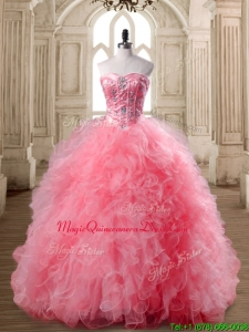 Luxurious Watermelon Red Sweet 16 Dress with Beading and Ruffles