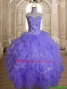 Beautiful Beaded and Ruffled Big Puffy Quinceanera Dress in Lavender