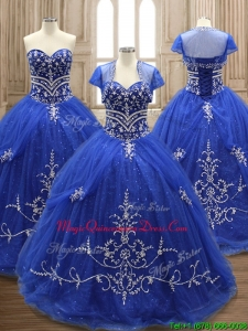 Elegant Applique Royal Blue Sweet 16 Dress with Brush Train