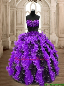 Latest Big Puffy Beading and Ruffles Quinceanera Dress in Organza