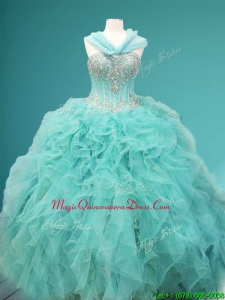 Visible Boning Beaded and Ruffled Sweet 16 Dress in Apple Green