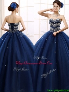 Discount Rhinestoned Really Puffy Quinceanera Dress in Navy Blue