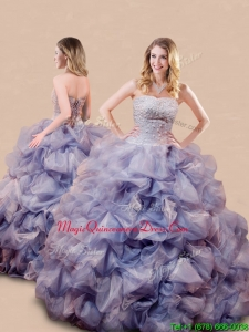 Romantic Beaded and Bubble Big Puffy Quinceanera Dress in Lavender