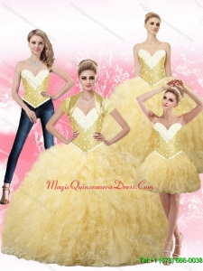 2015 Modern Ball Gown Fashionable Quinceanera Gown with Beading and Ruffles