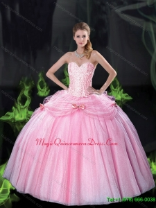 Beautiful Sweetheart Bowknot Fashionable Quinceanera Gown with Beading in Pink