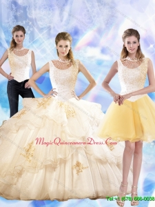 2015 Feminine Appliques and Beaded Quinceanera Dresses in Champagne