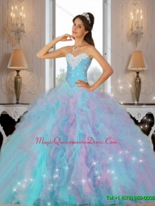 2015 Luxurious Beaded and Ruffles Custom Made Quinceanera Dress in Multi Color