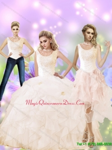 Classical 2015 High Neck Custom Made Quinceanera Dress with Beading and Ruffles