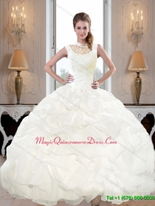 Discount 2015 High Neck and Beaded Custom Made Quinceanera Dress with Pick Ups