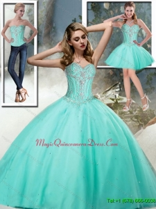 2015 Discount Sweetheart Quinceanera Dresses with Beading in Aqua Blue