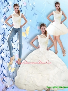 2015 Puffy High Neck and Beaded Quinceanera Dresses with Pick Ups