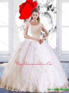 Popular 2015 Laceed and Beaded Quinceanera Dress with High Neck