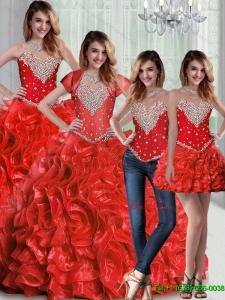 Pretty Sweetheart Red Quinceanera Dresses with Beading and Ruffles