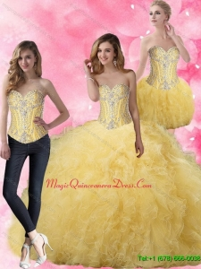 Sophisticated Ball Gown Yellow Quinceanera Dresses with Beading