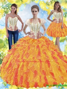 Sturning Beaded Sweetheart Quinceanera Dresses with Ruffles