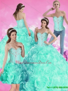 2015 Puffy Ball Gown Beaded Quinceanera Dresses with Rolling Flowers