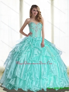 2015 Puffy Sweetheart Quinceanera Dresses with Beading and Appliques
